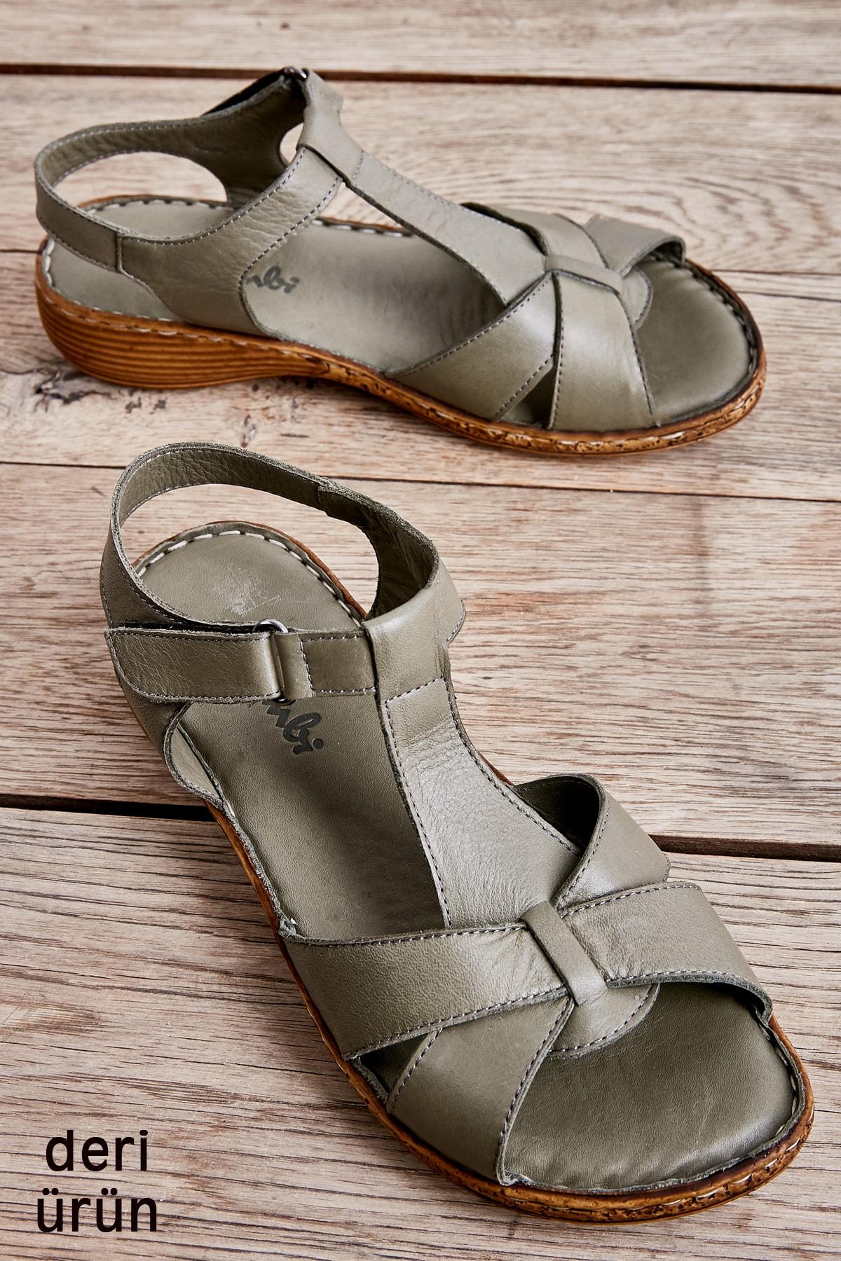 Bambi Hakiki Deri Haki Kadın Sandalet K05809926803 1