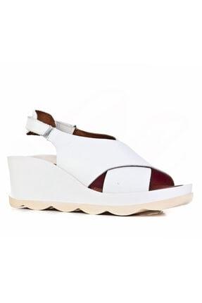 Cabani 8 Cm Topuklu Çapraz Bantlı Günlük Kadın Sandalet Beyaz Deri