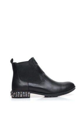 BUENO Shoes Troklu Ve Lastikli Hakiki Deri Kadın Düz Bot 9m3402