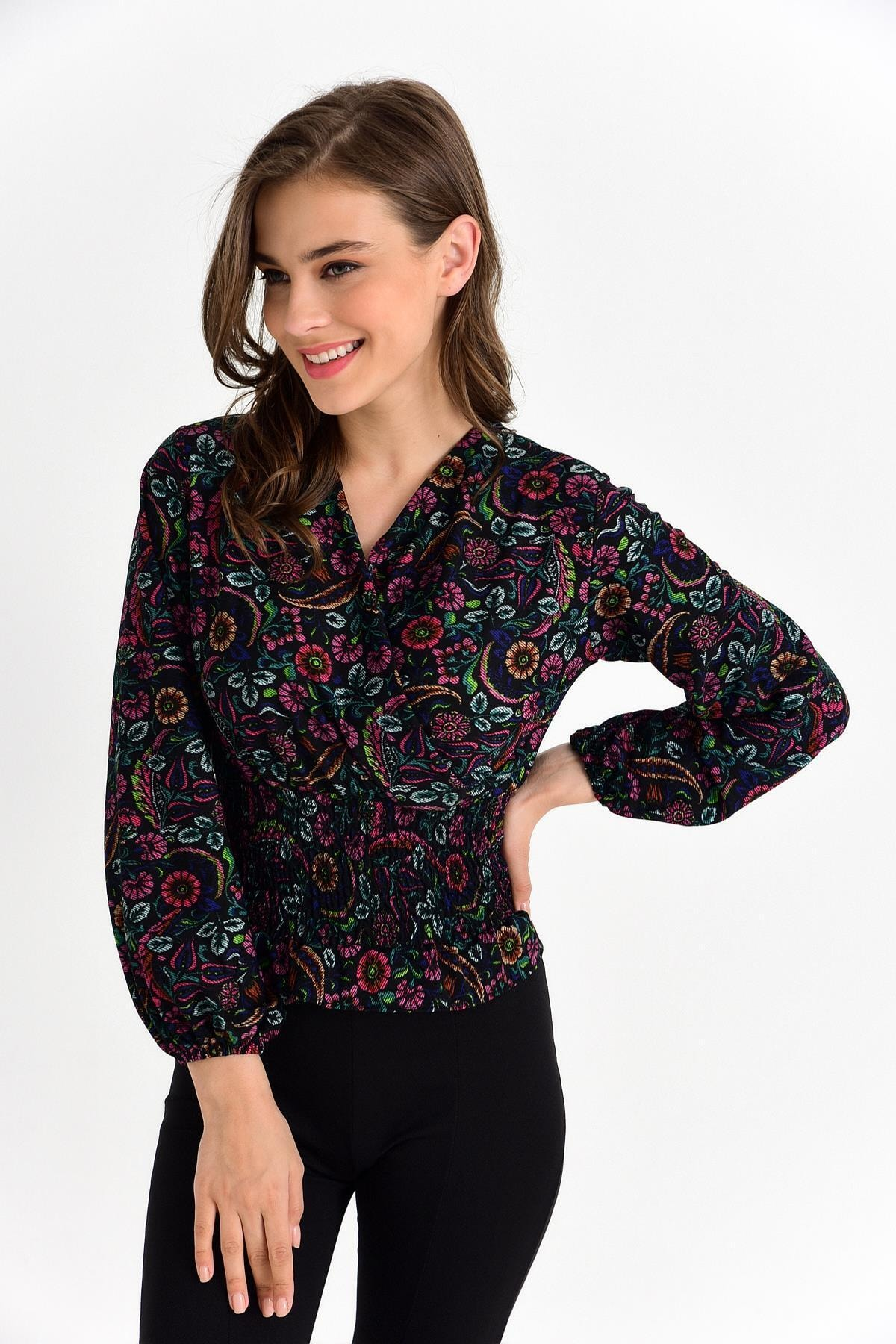 TENA MODA Kadın Siyah-fuşya Örme Crep Gipeli Bluz 1