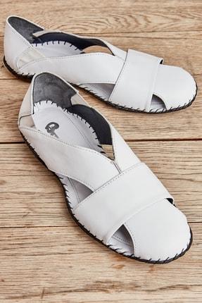 Bambi Hakiki Deri Beyaz Erkek Sandalet L1611111103