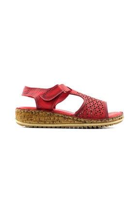 Kayra 910 Hakiki Deri Kadın Sandalet-kırmızı