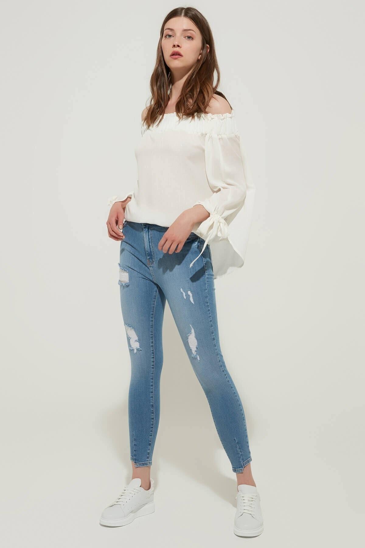 ZİNDİ Kadın Yüksek Bel Skinny Jean Buz Mavi 1