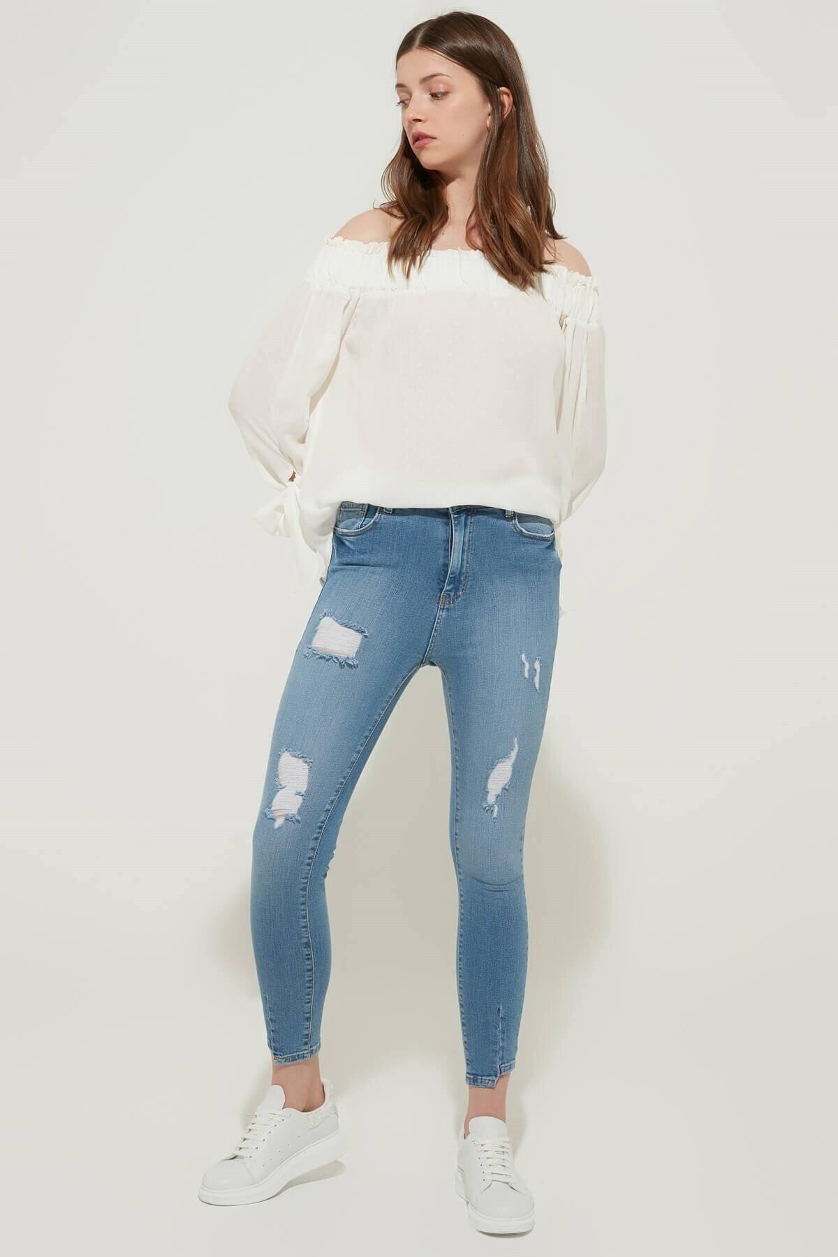 ZİNDİ Kadın Yüksek Bel Skinny Jean Buz Mavi 2