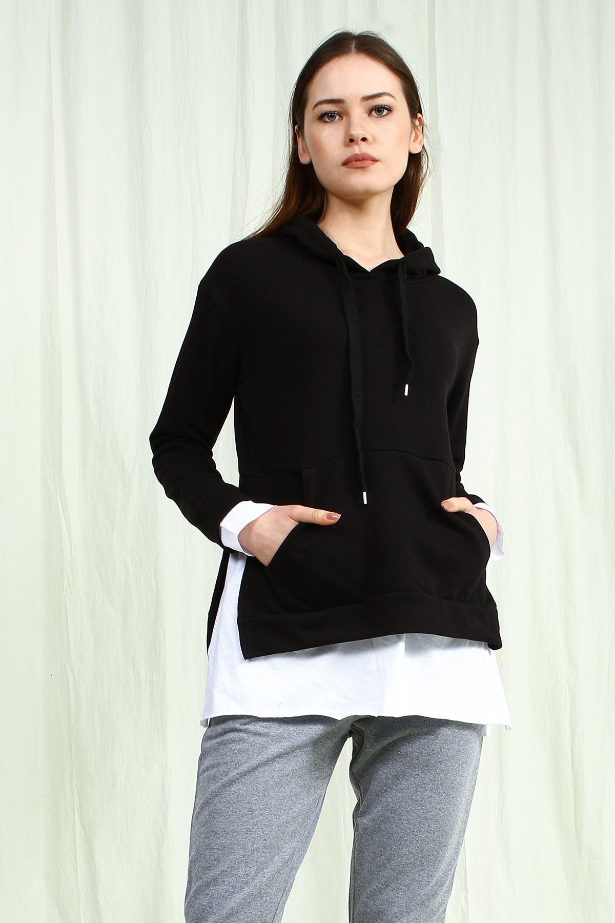 Collezione Siyah Kapişonlu Yanları Yırtmaçlı Ön Cep Detaylı Uzun Kollu Kadın Sweatshirt 1
