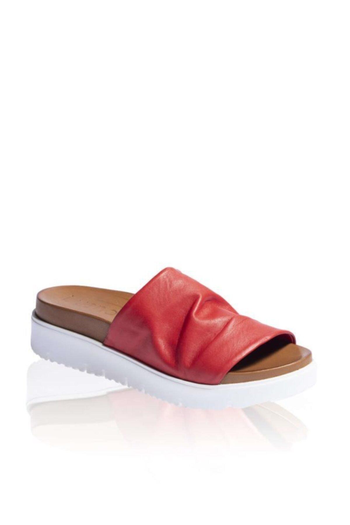 BUENO Shoes Önü Açık Hakiki Deri Kadın Dolgu Topuk Terlik 9n3400 2