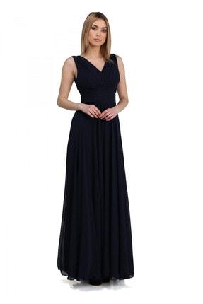 Pierre Cardin Carmen Lacivert Şifon V Yaka Uzun Abiye Elbise
