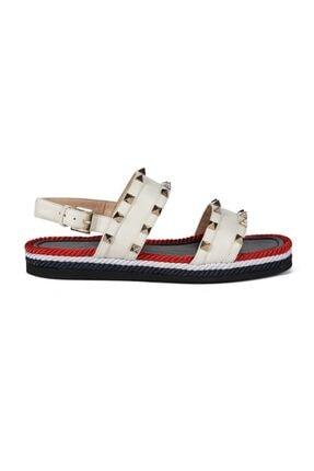 Sofia Baldi Adonia Beyaz/renkli Deri Pimli Kadın Düz Sandalet