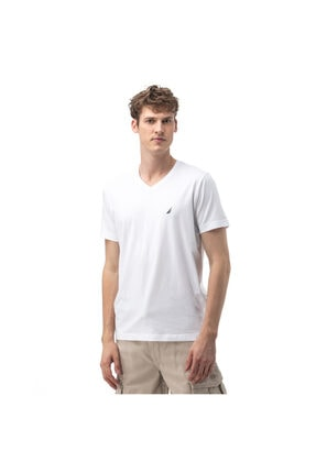 Nautica Erkek Standart Fit Beyaz V-Yaka T-Shirt V01001T