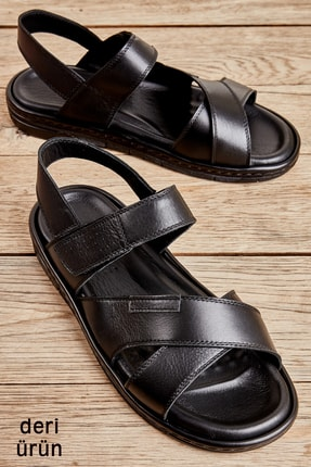 Bambi Hakiki Deri Siyah Erkek Sandalet L1801030603