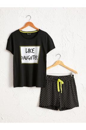 LC Waikiki Kadın Siyah Baskili  Pijama Takım