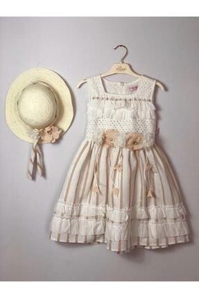 Buse&Eylül Bebe Vizon Pamuklu Şapkalı Fisto Kumaş Çiçek Detay Kız Çocuk Elbisesi