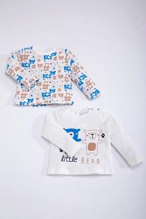 Luggi Erkek Bebek Beyaz Mavi Pamuklu Ayılı Uzun Kollu Ikili Pijama Üstü 4314