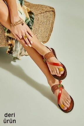 Bambi Hakiki Deri Sarı Kahve Kadın Sandalet L0685085003