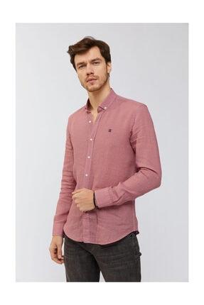 Avva Erkek Kırmızı Baskılı Düğmeli Yaka Regular Fit Gömlek A91y2083