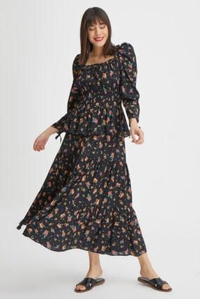 Gusto Çıtır Çiçek Desenli Bluz - Siyah