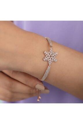 Gümüş Pazarım Kar Tanesi Motifli Asansörlü Gümüş Bileklik