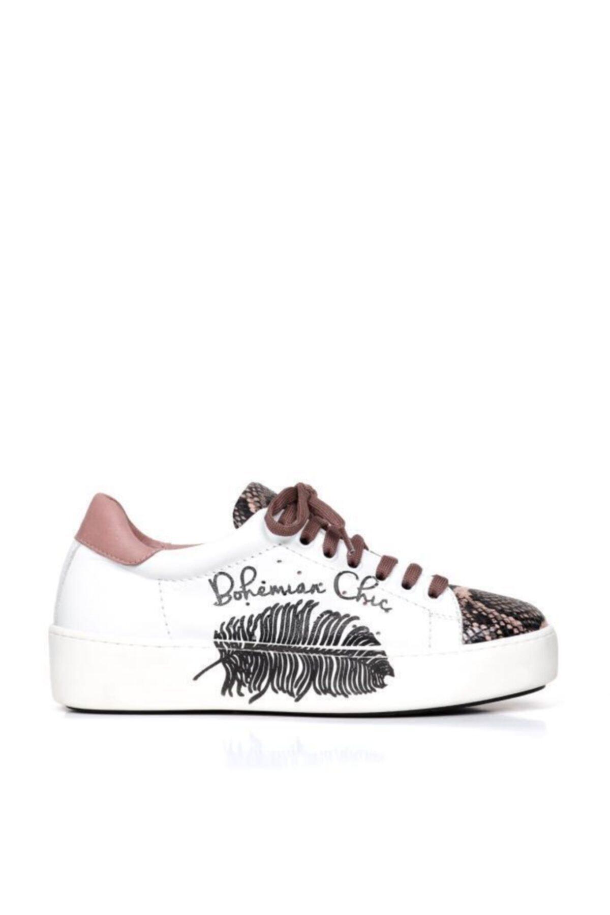 BUENO Shoes Hakiki Deri Baskılı Ve Bağcık Detaylı Kadın Spor Ayakkabı 20wr1903-sna 2