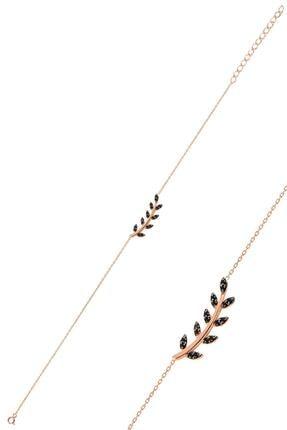 Söğütlü Silver Gümüş Rose Siyah Taşlı Yaprak Bileklik