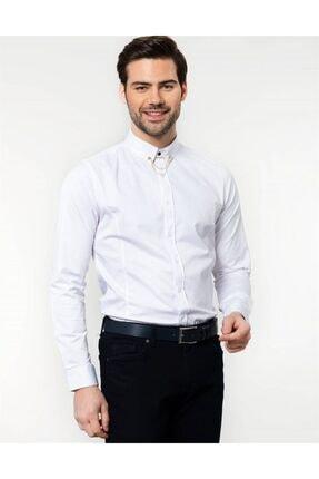Tudors Slim Fit Beyaz Likralı Erkek Gömlek