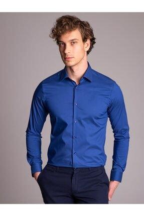 Dufy Indigo Ince Sık Dokuma Klasik Erkek Gömlek - Ekstra Slım Fıt