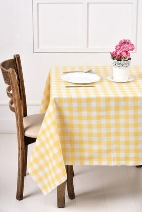 ikiparça Sarı Büyük Kare Desen Pötikareli Masa Örtüsü, Sofra Bezi, Piknik Örtüsü