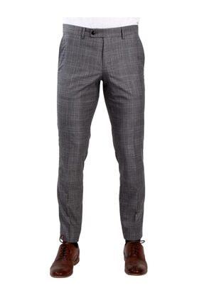 Dufy Gri Düz Kare Desenli Kumaş Erkek Pantolon - Slım Fıt