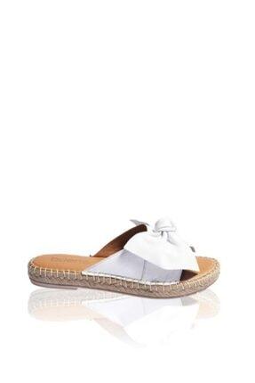 BUENO Shoes Papyon Detaylı Hakiki Deri Kadın Düz Terlik 9l4605