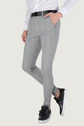 Terapi Men Erkek Ekoseli Slim Fit Keten Pantolon 20k-2200245 Gri