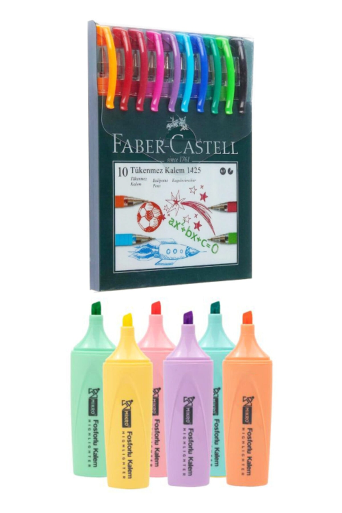 Faber Castell 10 Renk Tükenmez Kalem 1425 + Mikro 6 Renk Pastel Fosforlu Mk-605 1