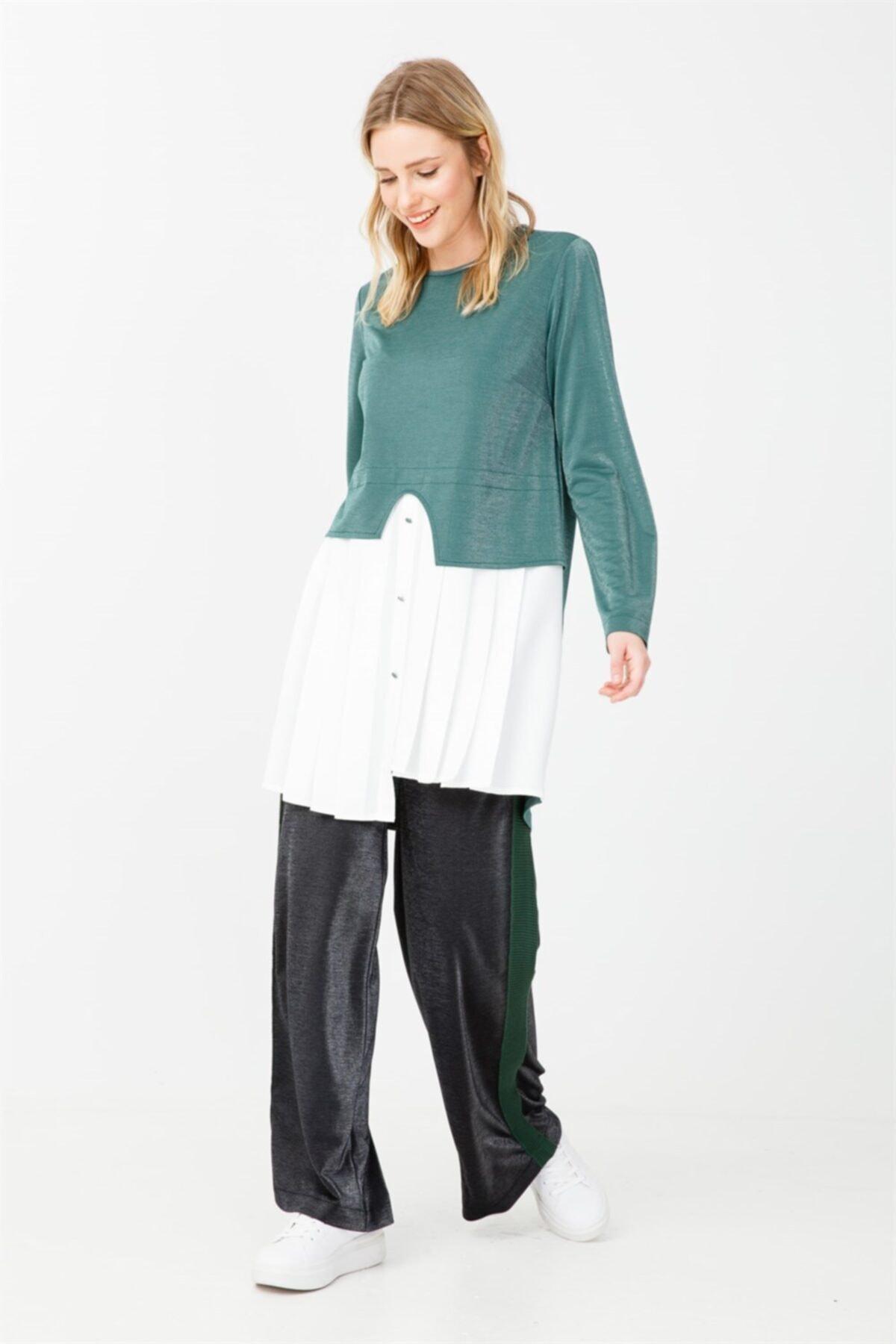Ghisa Pile Detaylı Tunik Pantolon Takımı Yeşil 2