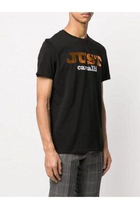 Just Cavalli Erkek Reflektör Baskılı Siyah T-shirt