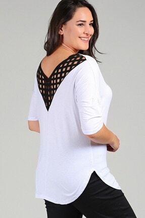 Womenice Büyük Beden Beyaz Arkası File Detaylı V Yaka Viskon Bluz