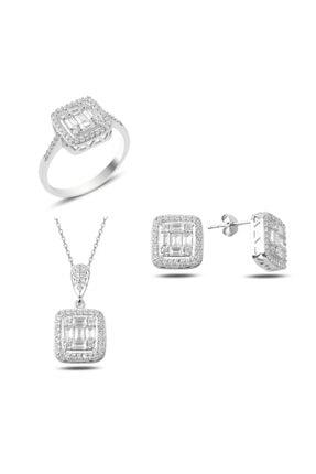 Mercan Silver Gümüş Baget Taşlı Set