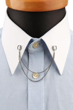 Kravatkolik Füme Taşlı Zincirli Gömlek Yaka Iğnesi Gı199
