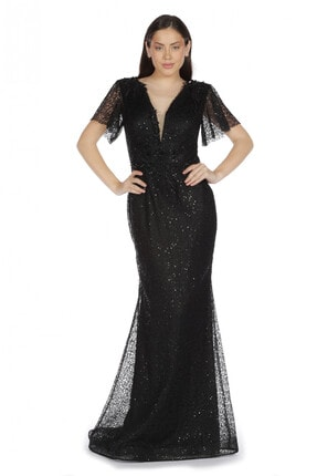 Pierre Cardin Carmen Siyah Yarım Kol Beli Işlemeli Uzun Abiye Elbise