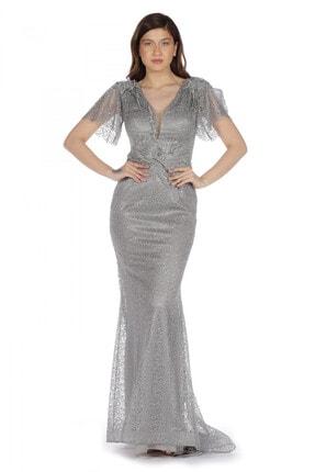 Pierre Cardin Carmen Gri Yarım Kol Beli Işlemeli Uzun Abiye Elbise