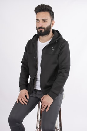 bombe Erkek Siyah Scuba Kumaş Mevsimlik Fermuarlı Sweatshirt