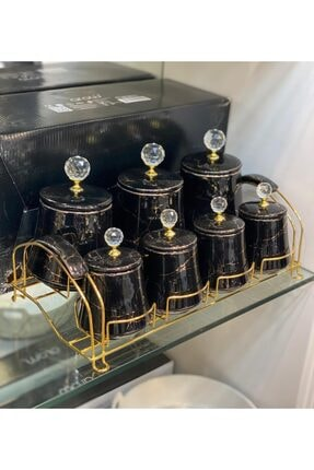 AROW 7'li Stantlı Kristal Taşlı Porselen Baharatlık Mermer Siyah