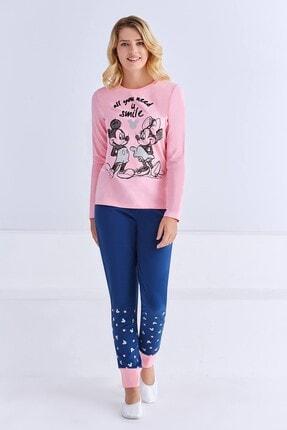 Mickey Mouse Lisanslı Kadın Pijama Takımı Açık Pembe