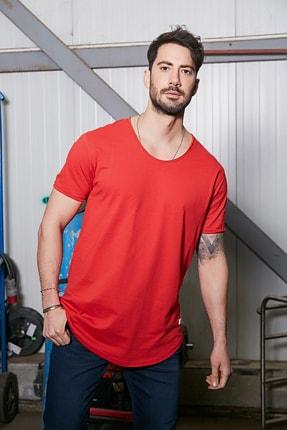 Sateen Men Erkek Kırmızı Kısa Kol Long Kesim Basic T-Shirt