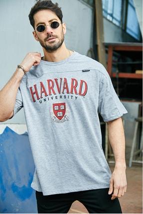 Sateen Men Erkek Gri Yazı Baskılı T-Shirt