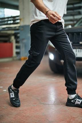 Sateen Men Erkek Siyah Komando Jogger Pantolon