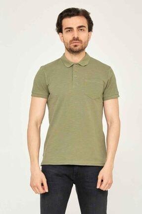 Cazador Caz 4100 Polo Yaka T-shirt Slim Fit Haki %100 Pamuk Erkek