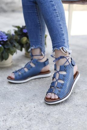 Hammer Jack Kadın Hakiki Deri Bilekten Bağcıklı Sandalet
