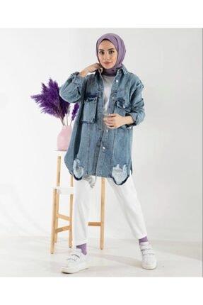 lamelif store Kadın Mavi Kot Ceket Lamelif