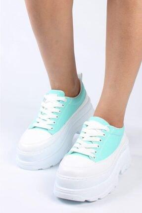 FİT SPORT Kadın Su Yeşili Kalın Taban Sneaker 7001 Keten
