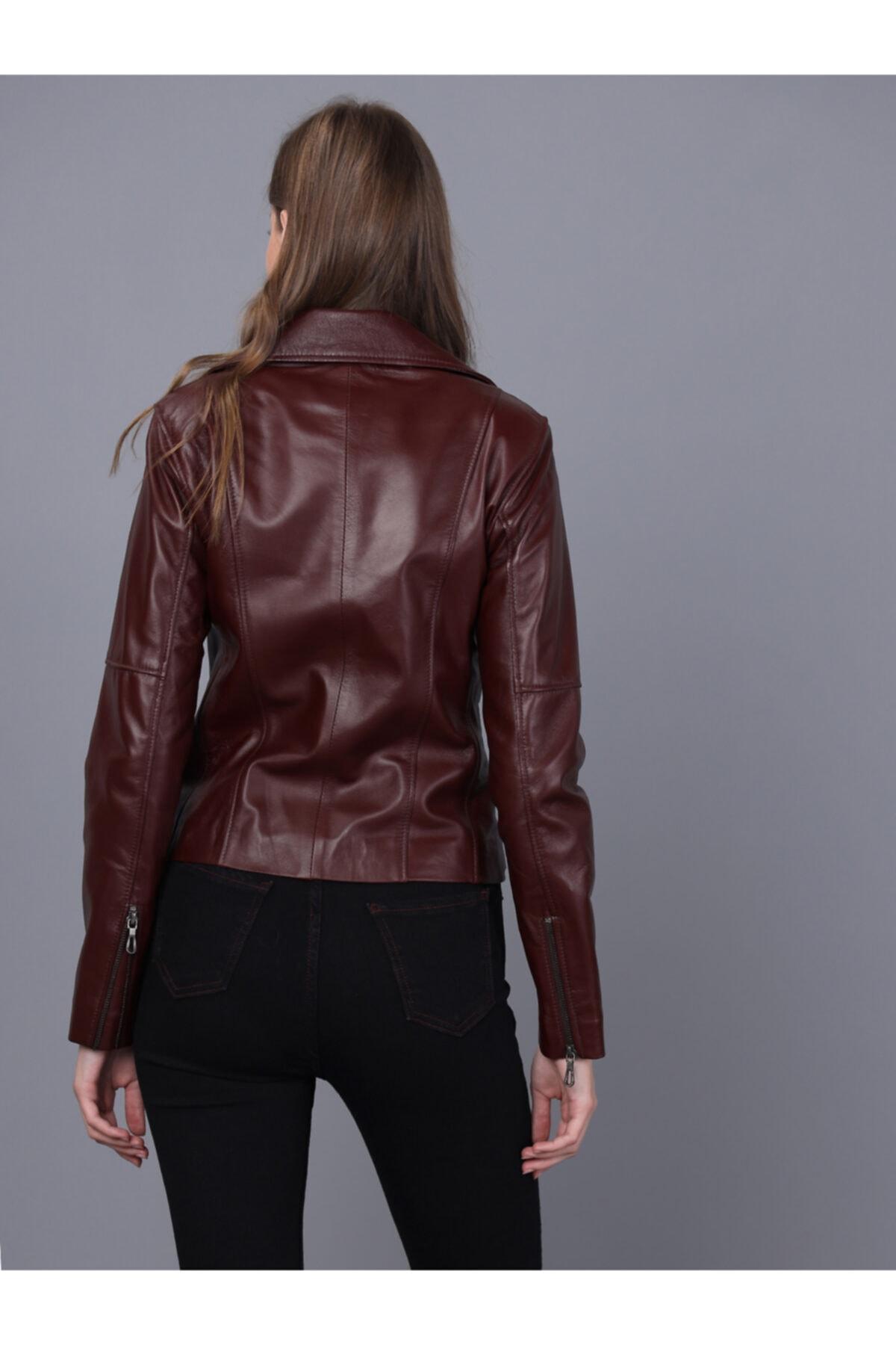 Basics&More Kadın Bordo Deri Ceket 2