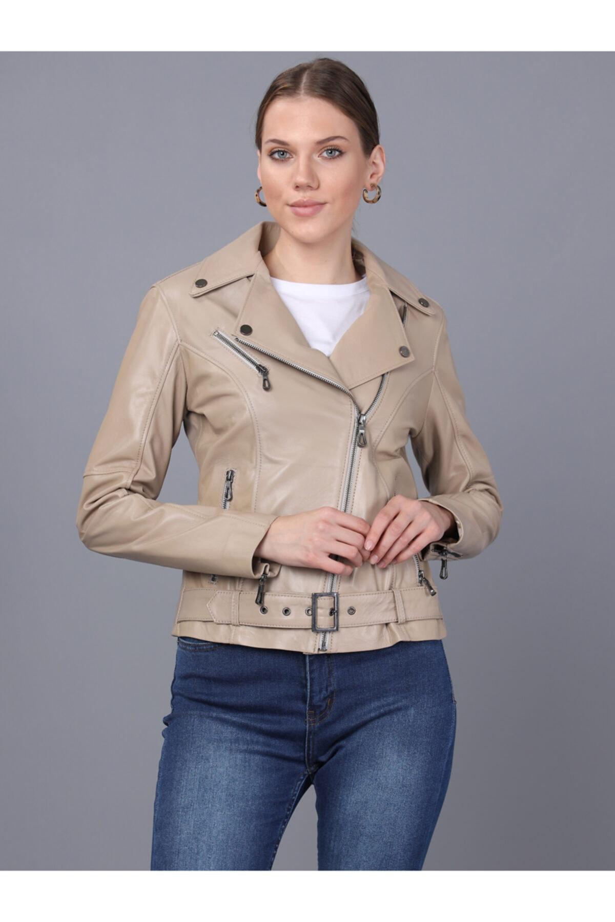 Basics&More Kadın Bej Deri Ceket 1