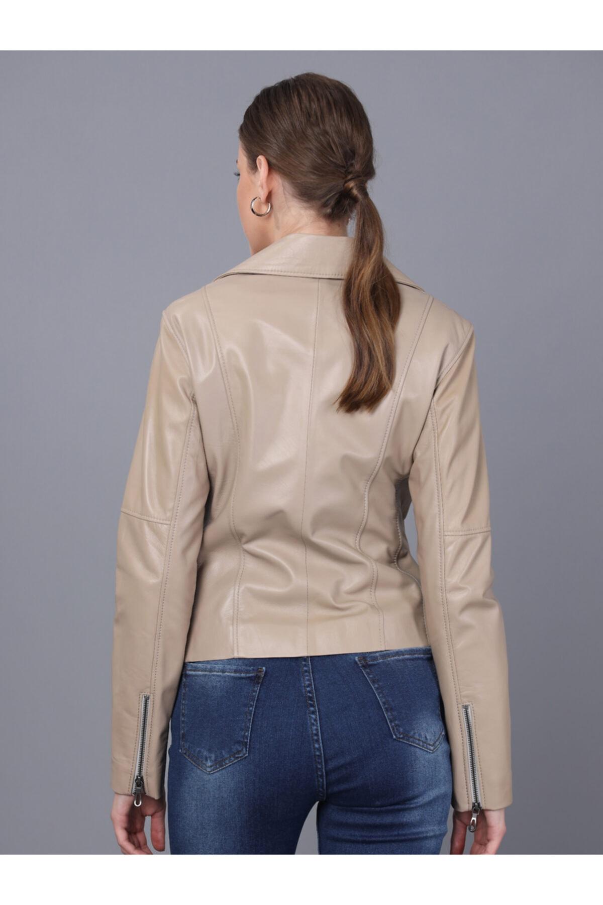 Basics&More Kadın Bej Deri Ceket 2